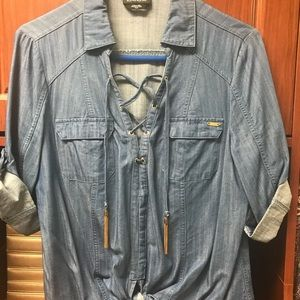 Roll up sleeve jean shirt